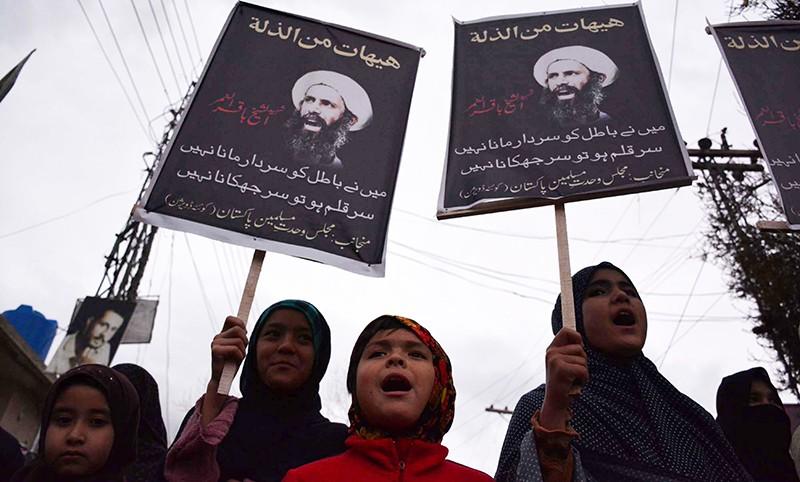 Митинг против казни шиитского богослова Нимра аль-Нимра в Саудовской Аравии