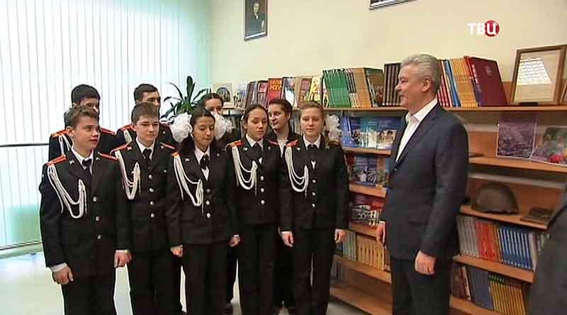 Сергей Собянин на открытии школы-новостройки в районе Северный
