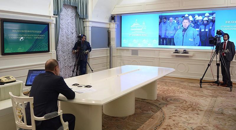 """Президент РФ Владимир Путин в Кремле в режиме видеоконференции дал старт строительству компанией """"Газпром"""" новой ветки газопровода """"Ухта - Торжок - 2"""""""