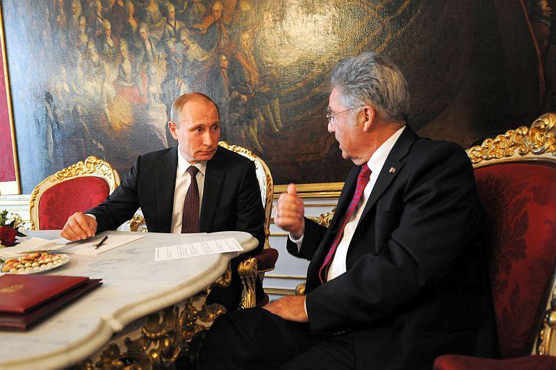 Владимир Путин и Хайнц Фишер на встрече в Вене, 2014 год