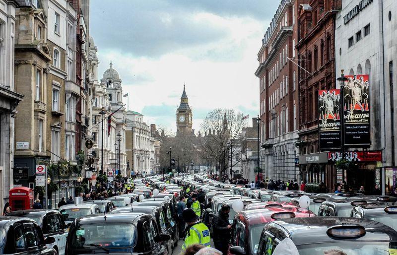 Протест таксистов в Лондоне