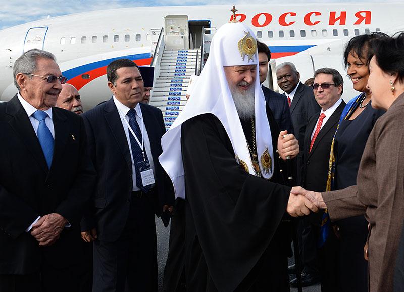 Патриарх Московский и всея Руси Кирилл в аэропорту города Гаваны
