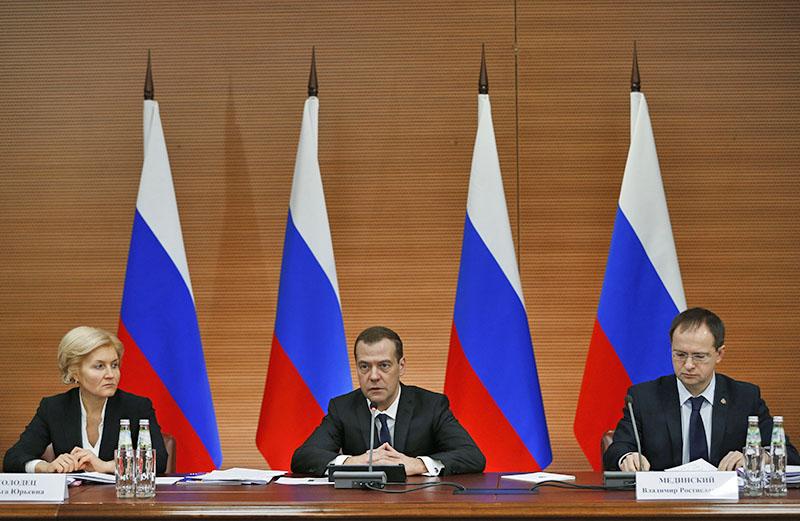 Председатель правительства РФ Дмитрий Медведев проводит заседание правительственного совета по развитию кинематографии