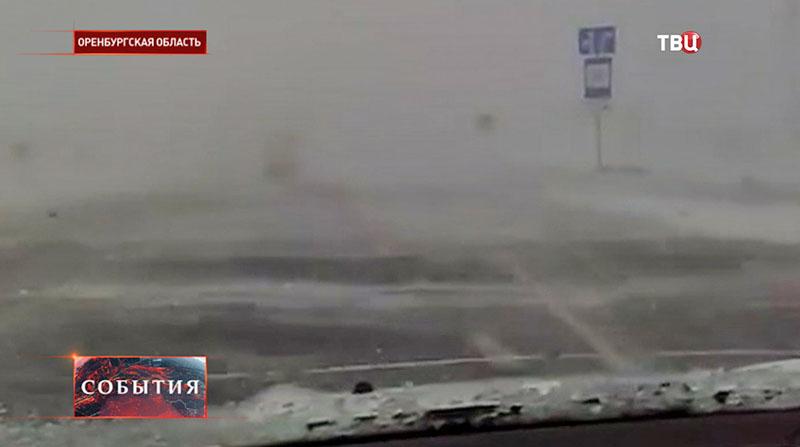 Снегопад в Оренбургской области
