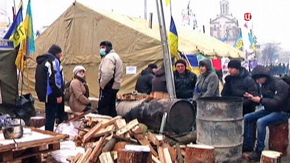 Палаточный городок на Майдане Незалежности в Киеве