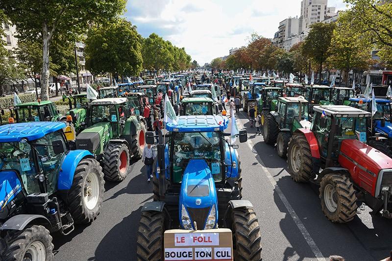 Французские фермеры во время акции протеста