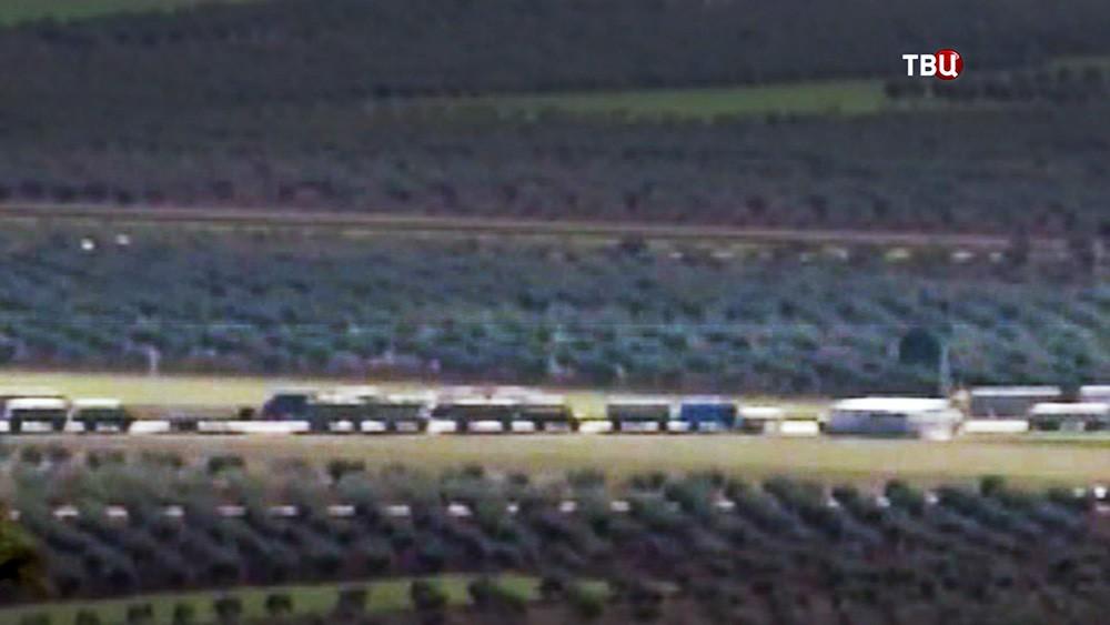 Колонны турецких грузовиков на сирийской территории