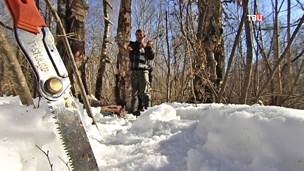 Демонтаж лабаза - вышки браконьеров