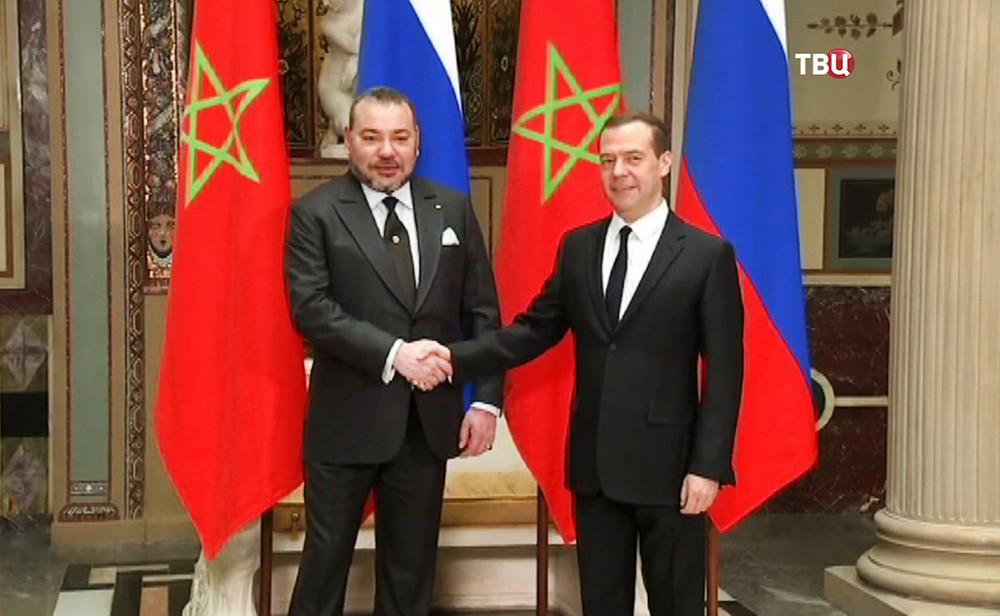 Председатель правительства РФ Дмитрий Медведев и король Марокко Мухаммед VI