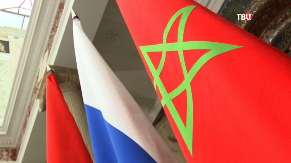 Флаги России и Марокко