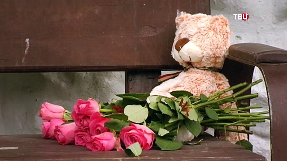 Цветы у места убийства