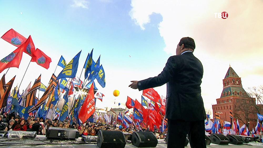 """Иосиф Кобзон выступает на митинг-концерте """"Мы вместе"""""""