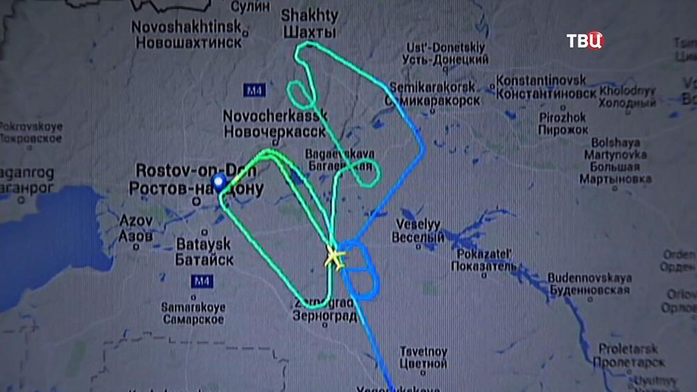 Траектория полета пассажирского самолета Boeing-737-800 авиакомпании Fly Dubai