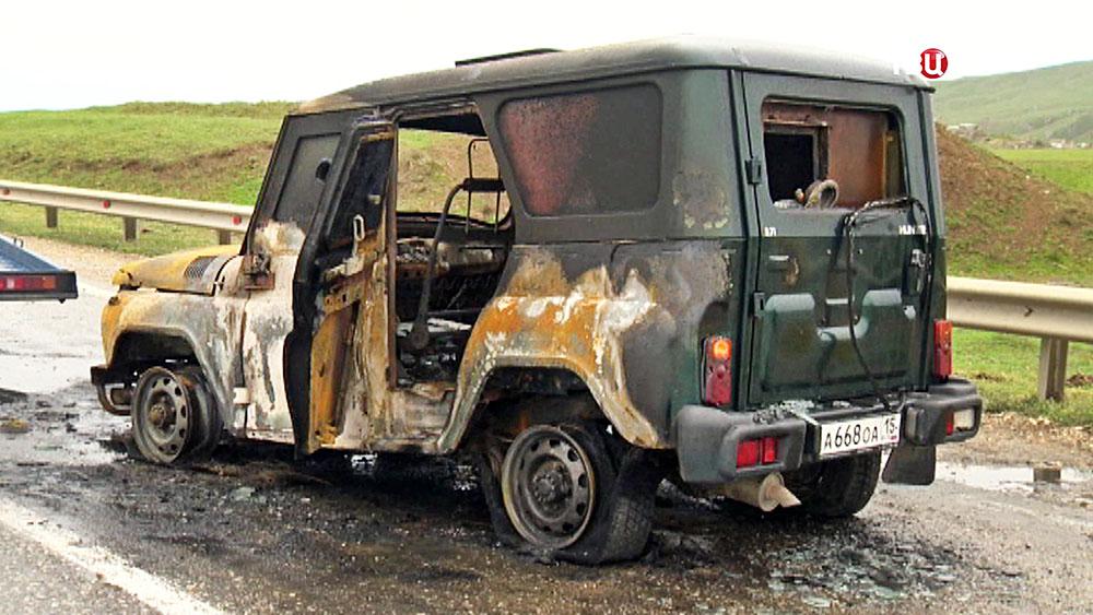 Последствия подрыва автоколонны МВД в Дагестане