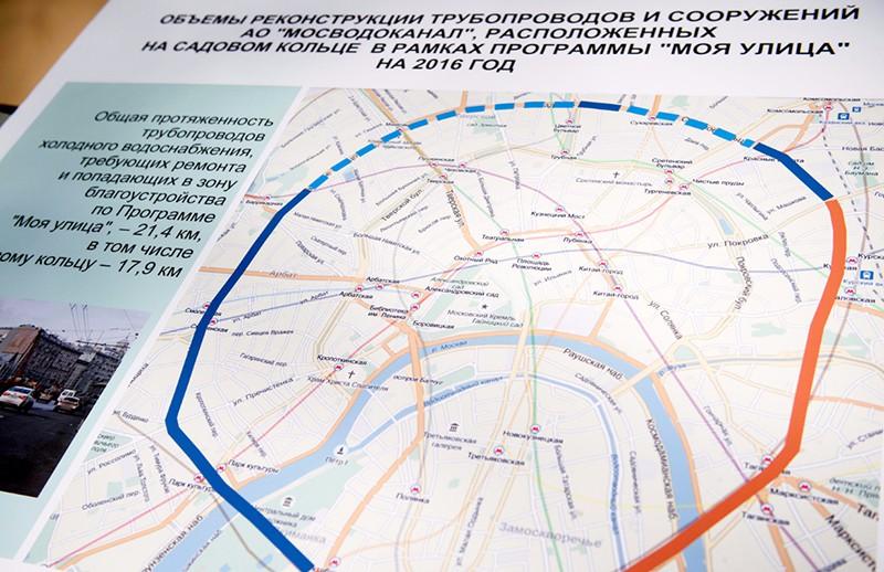 Карта реконструкции трубопровода на Садовом кольце