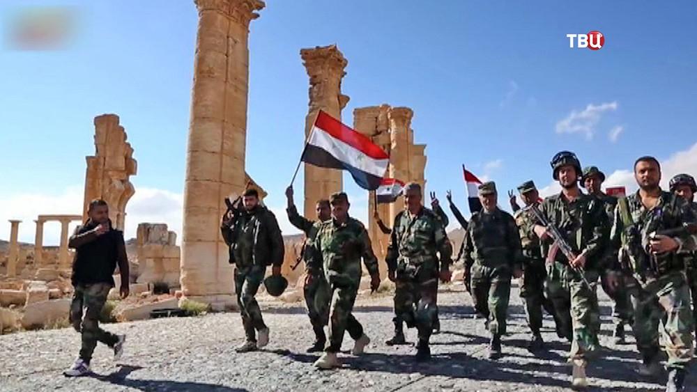 Солдаты сирийской армии в городе Пальмира