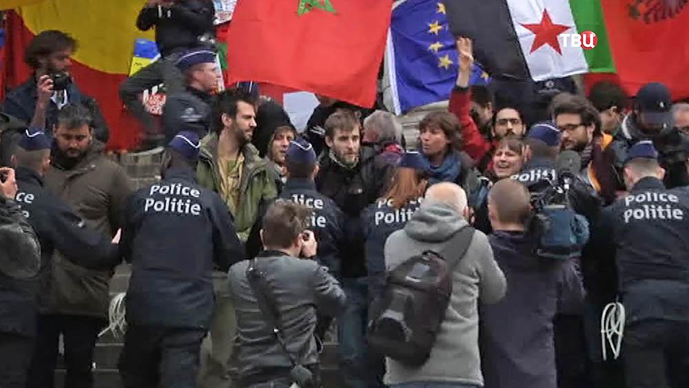 Антимиграционный митинг в Брюсселе