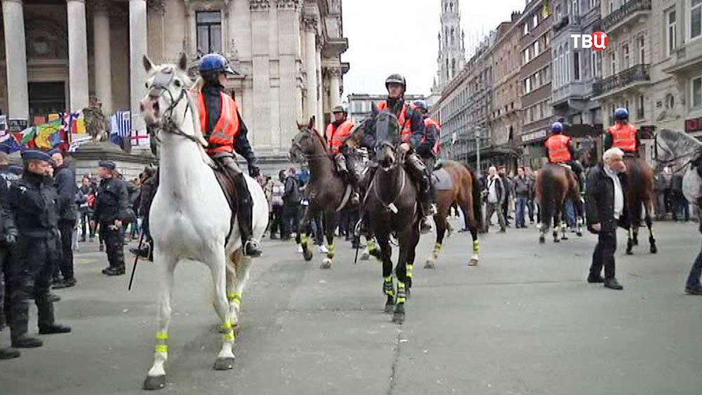 Полиция Брюсселя на месте уличных беспорядков