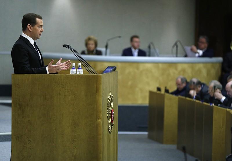 Председатель правительства России Дмитрий Медведев выступает в Госдуме России
