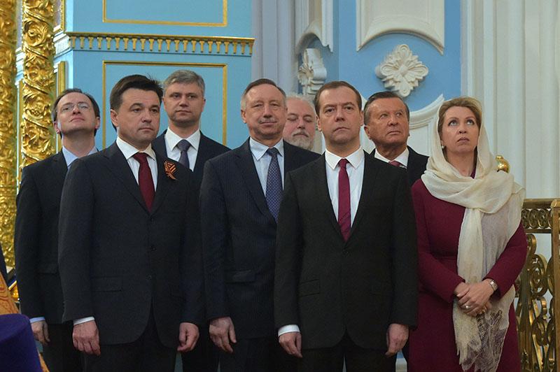 Дмитрий Медведев во время торжественной церемонии освящения Воскресенского собора Ново-Иерусалимского ставропигиального мужского монастыря