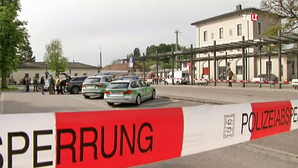 Место нападения на железнодорожной станции в Германии