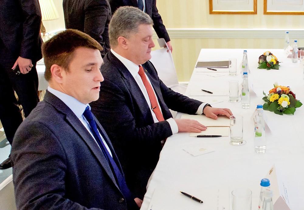 Глава МИД Украины Павел Климкин и президент Украины Пётр Порошенко