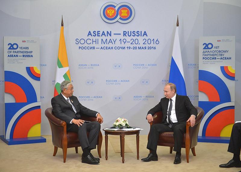 Президент Российской Федерации Владимир Путин и президент Республики Мьянма Тхин Чжо