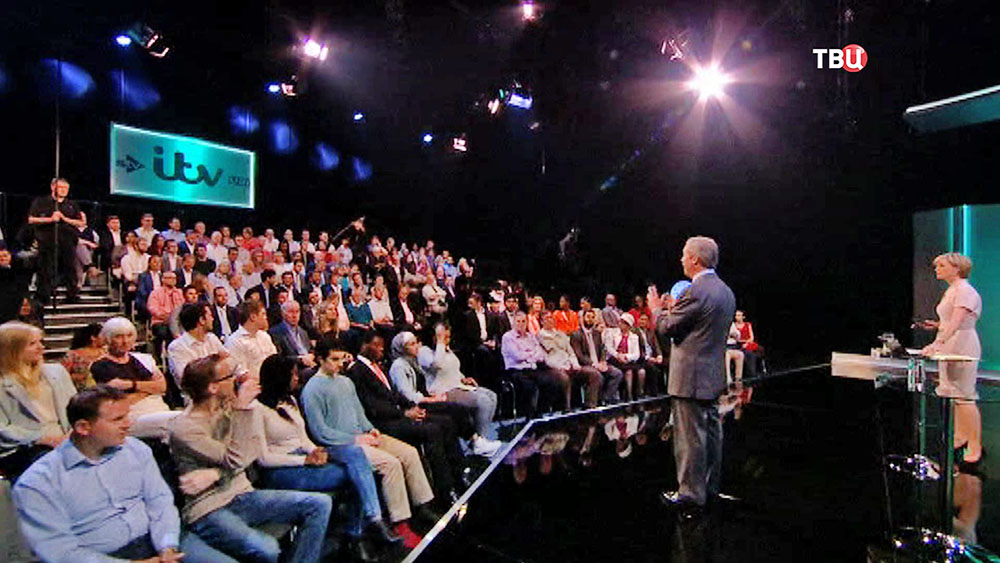 Лидер Партии независимости Найджел Фараж на теледебатах