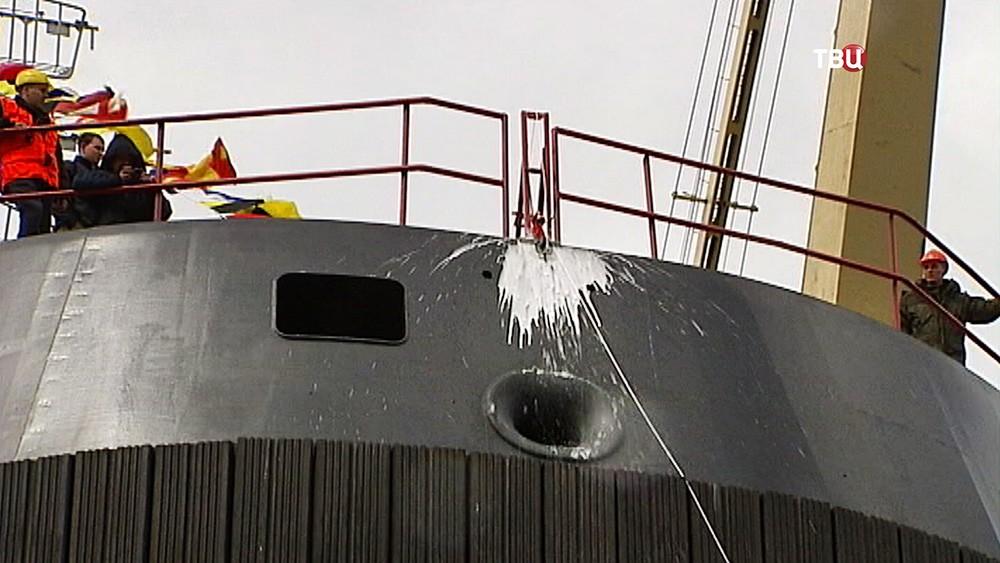 Церемония спуск на воду корабля