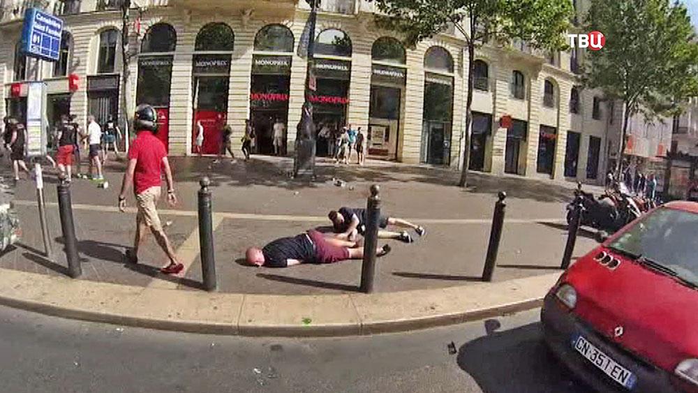 Пострадавшие в столкновениях футбольных фанатов во Франции