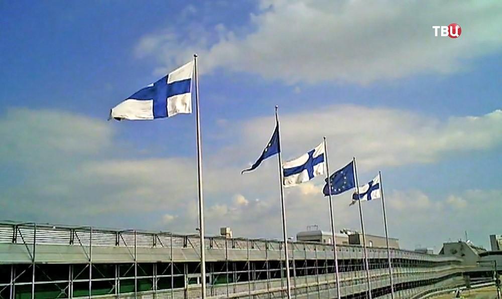Флаги Евросоюза и Финландии
