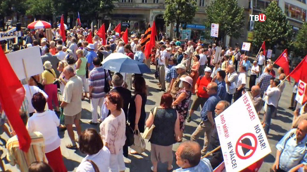 Митинг против НАТО в Праге