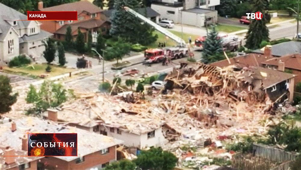 На месте взрыва бытового газа в жилом доме в Канаде