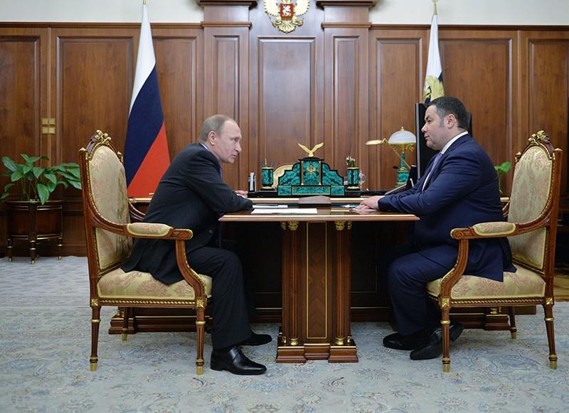 Президент России Владимир Путин и исполняющий обязанности губернатора Тверской области Игорь Руденя