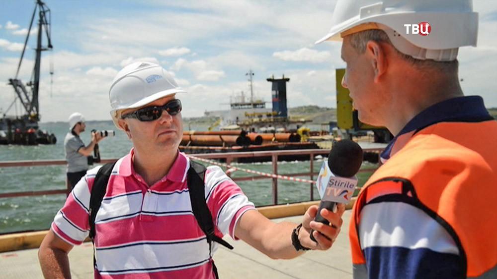 Иностранные журналисты на строительстве Крымского моста