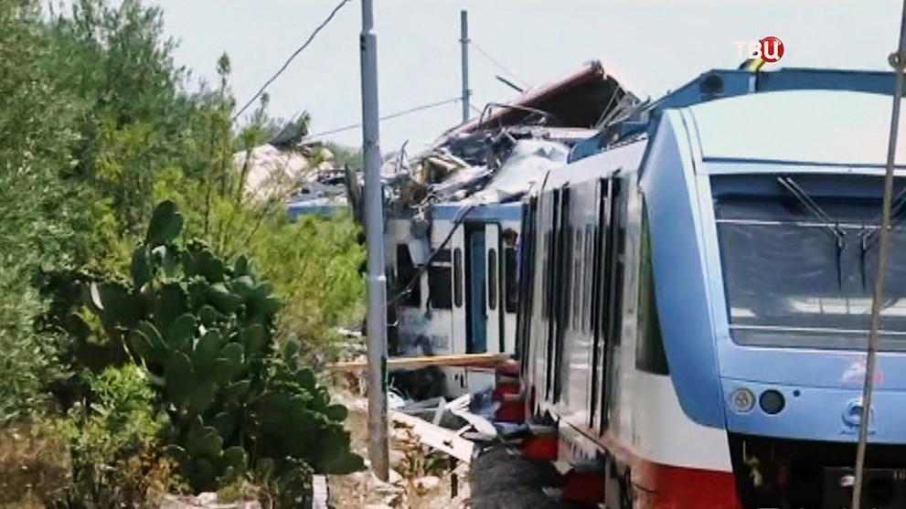 Столкновение поездов в Италии