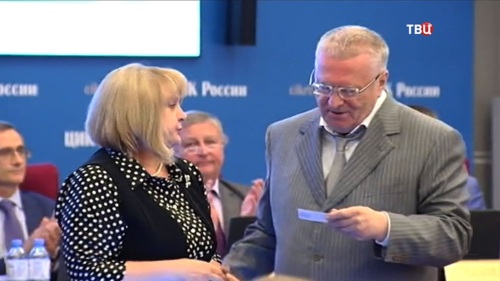 Глава ЦИК Элла Памфилова и лидер партии ЛДПР Владимир Жириновский