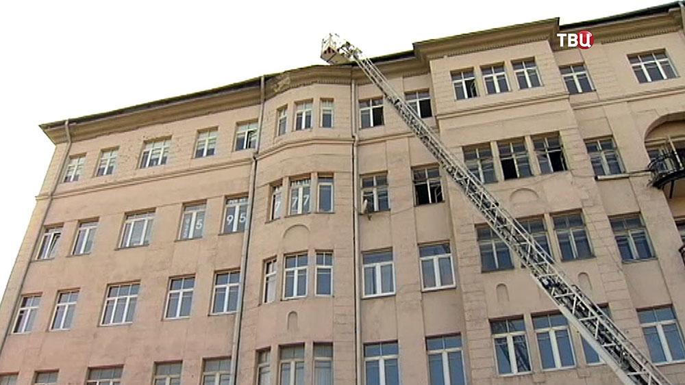 Пожар в доме в центре Москвы