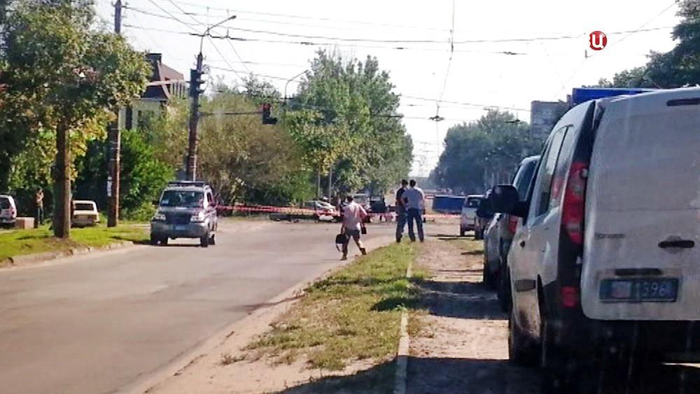 Место покушения на главу ЛНР Игоря Плотницкого