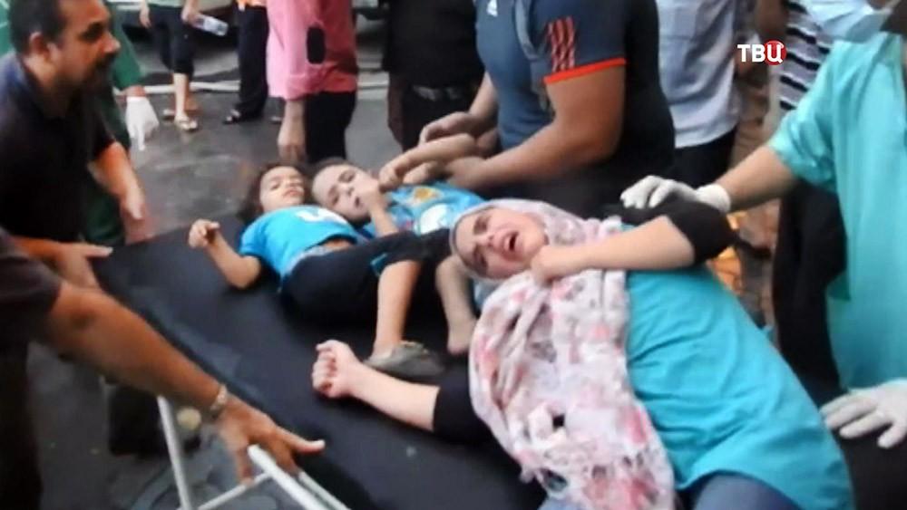 Пострадавшие от действия химического оружия в Сирии