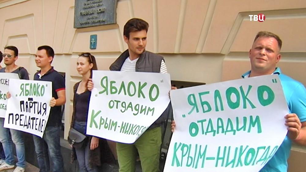 """""""Молодая гвардия"""" провела пикет у общественной приемной """"Яблока"""""""