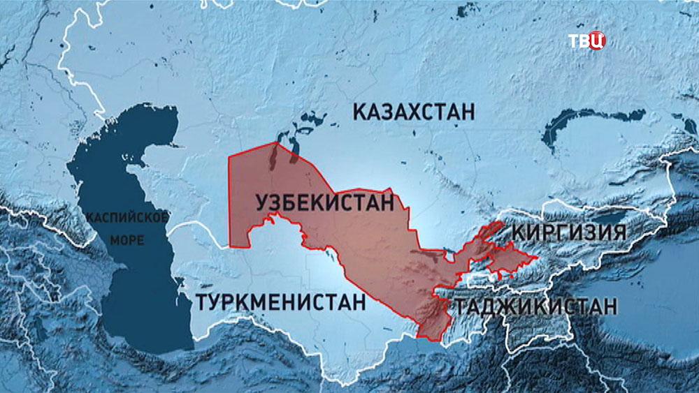 Узбекистан на карте