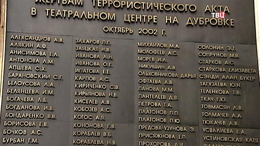 Мемориальная доска в память о жертвах теракта в театральном центре на Дубровке