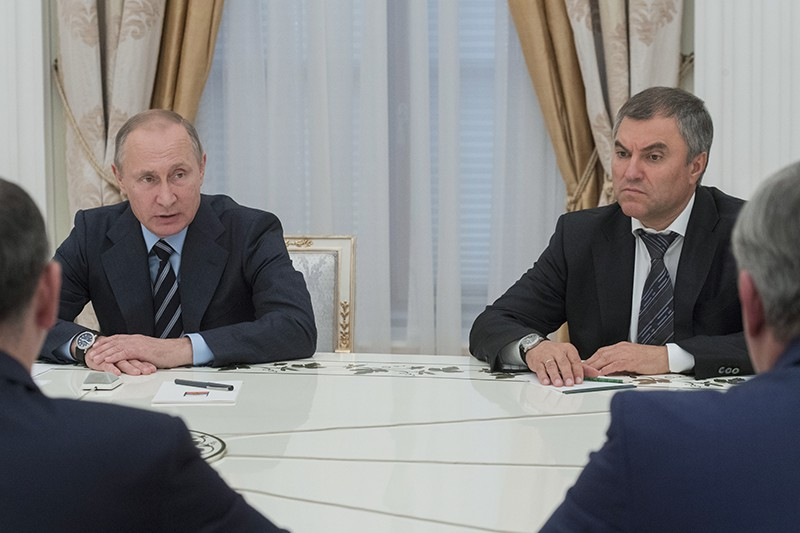 Президент РФ Владимир Путин и первый заместитель руководителя администрации президента РФ Вячеслав Володин
