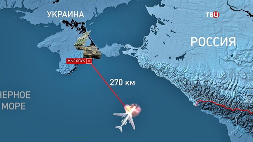 Смоделированный момент авиакатастрофы Ту-154 в небе над Чёрным морем