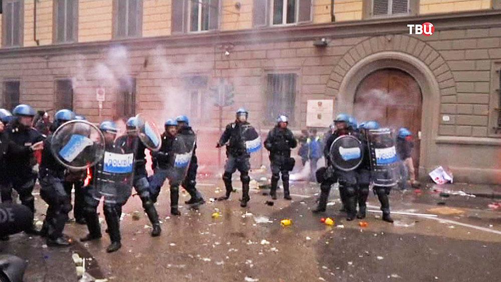 Столкновения полиции Италии с протестующими
