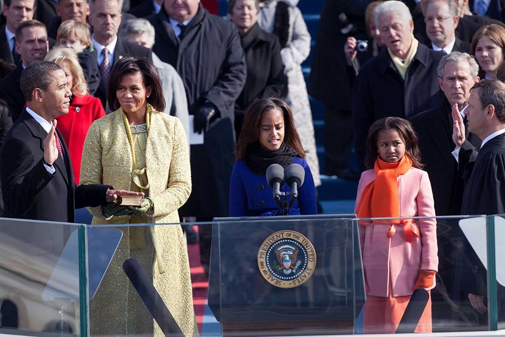 Семья Барака Обамы во время инаугурации