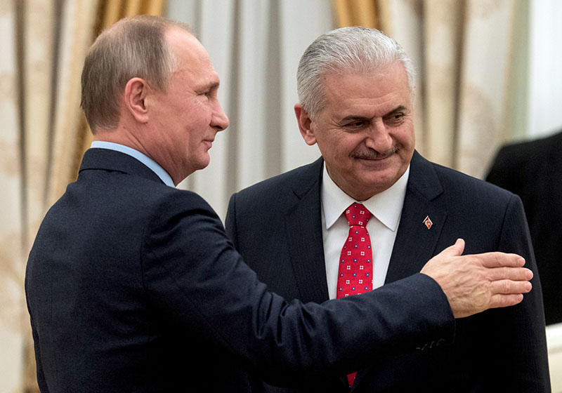 Президент России Владимир Путин и премьер-министр Турции Бинали Йылдырым