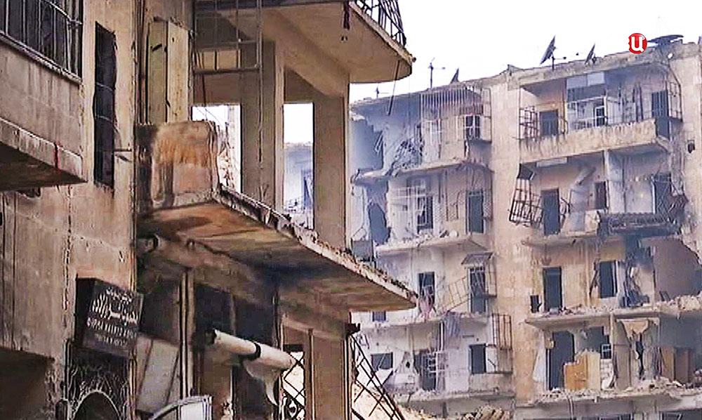 Последствия боевых действий в Алеппо. Сирия