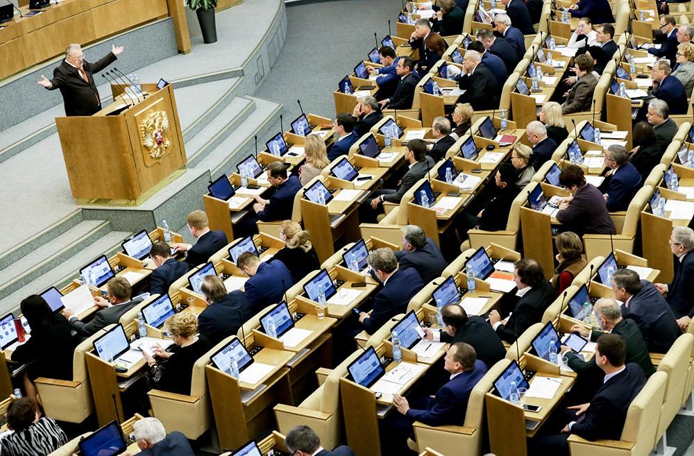Владимир Жириновский выступает в Госдуме РФ